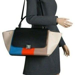 Celine Multicolor Trapeze Leather And Stripe Fabri